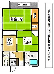 福岡県北九州市小倉北区熊谷1丁目の賃貸アパートの間取り