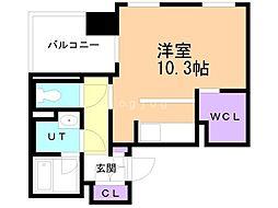 ファーストアヴェニュー円山公園 6階ワンルームの間取り