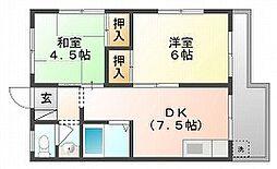 岡山県岡山市北区天瀬南町の賃貸マンションの間取り