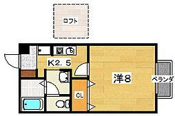 アムール渚 2階1Kの間取り