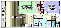グリーングラス久米田[410号室]の間取り