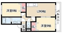 愛知県名古屋市天白区梅ヶ丘5丁目の賃貸アパートの間取り