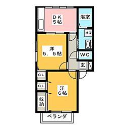 メルベーユ石田[1階]の間取り