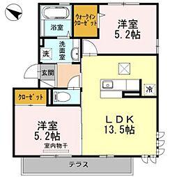 広島県広島市東区戸坂桜上町の賃貸アパートの間取り