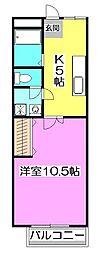 ノシバコーポ[2階]の間取り