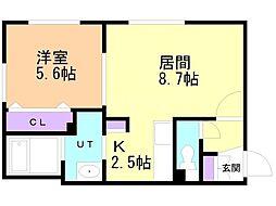 仮)グランメール宮の沢2‐1II 2階1LDKの間取り