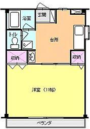 アンソレイエ 2階1DKの間取り