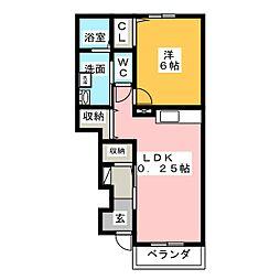 愛知県尾張旭市向町3丁目の賃貸アパートの間取り
