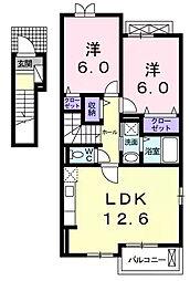 愛知県刈谷市高須町2丁目の賃貸アパートの間取り