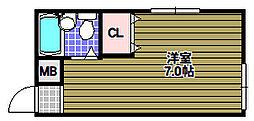 山本レンターマンション 3階ワンルームの間取り