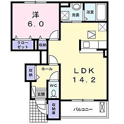 東京都あきる野市雨間の賃貸アパートの間取り