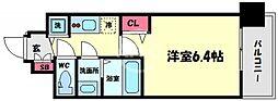 アドバンス大阪グロウス 3階1Kの間取り