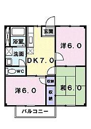 ソルツィンB[2階]の間取り