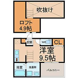 愛知県名古屋市中村区松原町4丁目の賃貸アパートの間取り