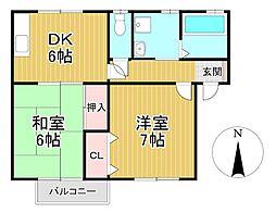 パークハイツミズマ[1階]の間取り