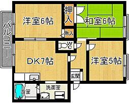 奈良県奈良市恋の窪3丁目の賃貸アパートの間取り