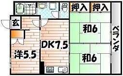 福岡県北九州市小倉南区朽網西1丁目の賃貸マンションの間取り