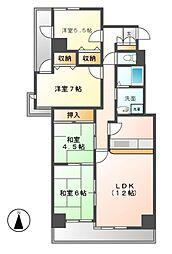 瓢箪山グリーンハイツ[2階]の間取り