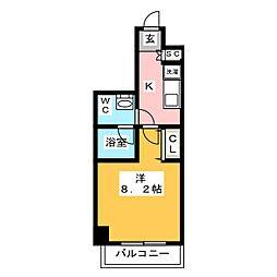 AZEST梅島 3階1Kの間取り