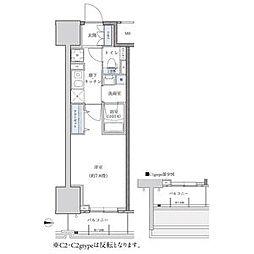 パークアクシス新栄 13階1Kの間取り