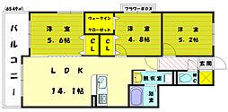 福岡県古賀市今の庄2丁目の賃貸マンションの間取り