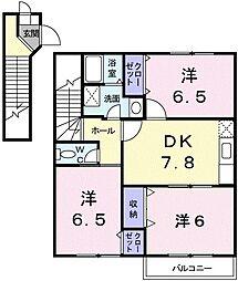 東京都小平市上水南町3丁目の賃貸アパートの間取り