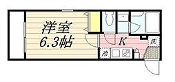 東京都大田区大森西3丁目の賃貸アパートの間取り