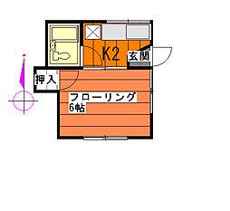 栄荘[201号室]の間取り