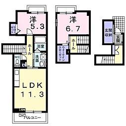 JR東海道・山陽本線 河瀬駅 徒歩4分の賃貸アパート 2階2LDKの間取り