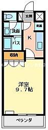 岡山県倉敷市広江6丁目の賃貸アパートの間取り