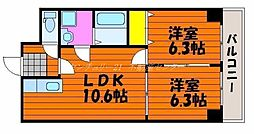 岡山県岡山市南区大福の賃貸マンションの間取り