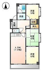 愛知県名古屋市北区五反田町の賃貸マンションの間取り