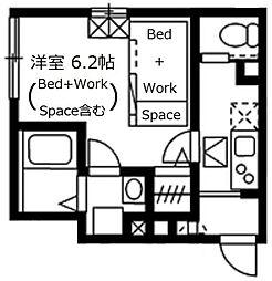 Lapule Meguro 1階1Kの間取り