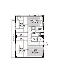 ビレッジハウス亀井野2号棟[5階]の間取り