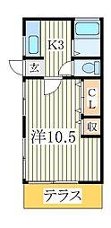 岡本ハイツ[1階]の間取り