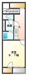 JR赤穂線 邑久駅 徒歩15分の賃貸アパート 2階1Kの間取り