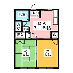 コーポ川嶋II[1階]の間取り