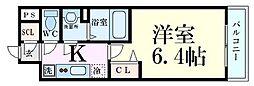 プレサンス淡路駅前 8階1Kの間取り