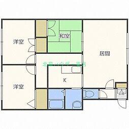 北海道札幌市東区北二十条東13の賃貸アパートの間取り