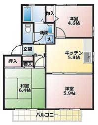 ディアス21B[2階]の間取り