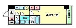 プレサンスNEO淀屋橋 5階1Kの間取り