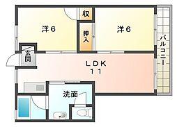 池田グランドコーポ[4階]の間取り