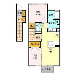 リッツハウスE−AKATSUKA[206号室]の間取り
