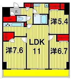 ロイヤルKJ[1106号室]の間取り