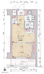 ベラジオ京都西院ウエストシティ3 2階1DKの間取り