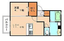 福岡県飯塚市忠隈の賃貸アパートの間取り