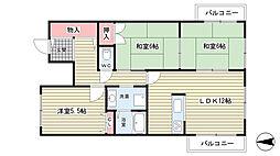 大阪府豊中市南桜塚3丁目12丁目の賃貸マンションの間取り