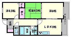 松屋レジデンス関目 5階3LDKの間取り
