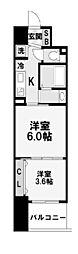大阪府大阪市中央区南船場2丁目の賃貸マンションの間取り