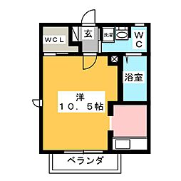 ヴェルドミール A棟 2階ワンルームの間取り